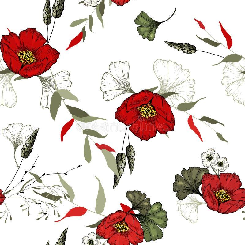 Fundo do vintage wallpaper Mão desenhada Ilustração do vetor Teste padrão floral na moda teste padrão sem emenda isolado ilustração stock