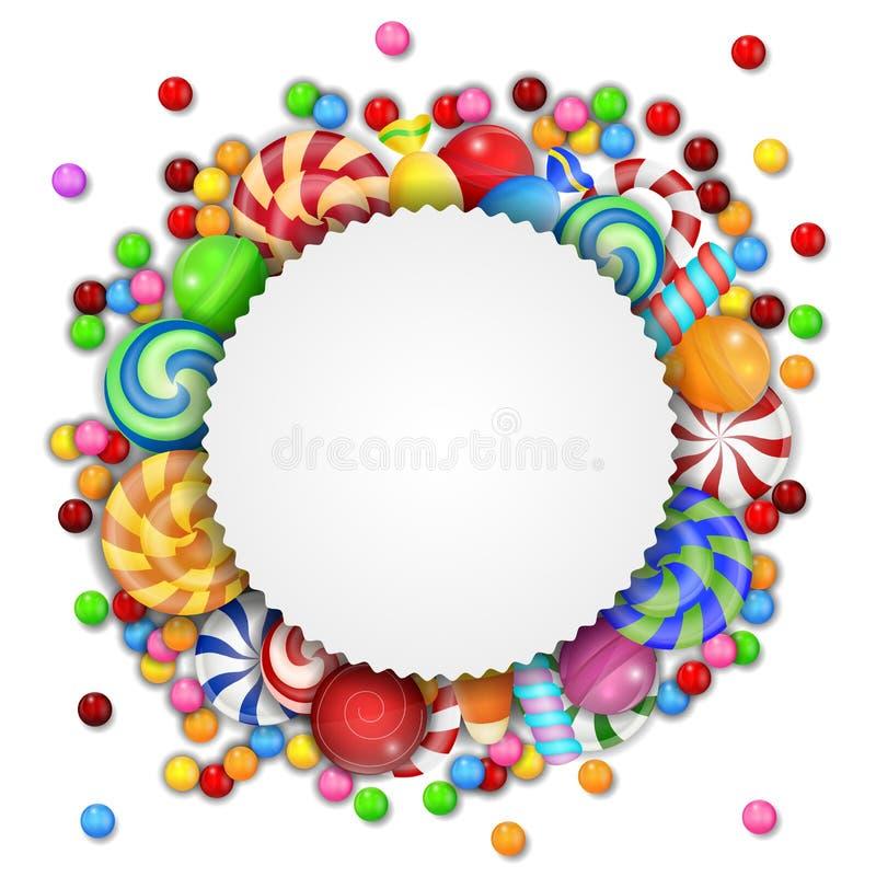 Fundo doce dos doces com sinal vazio ilustração royalty free