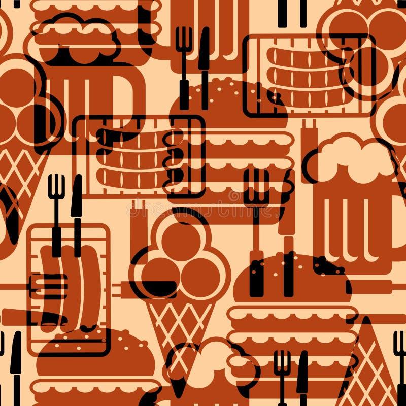 Fundo dos ícones do alimento ilustração royalty free