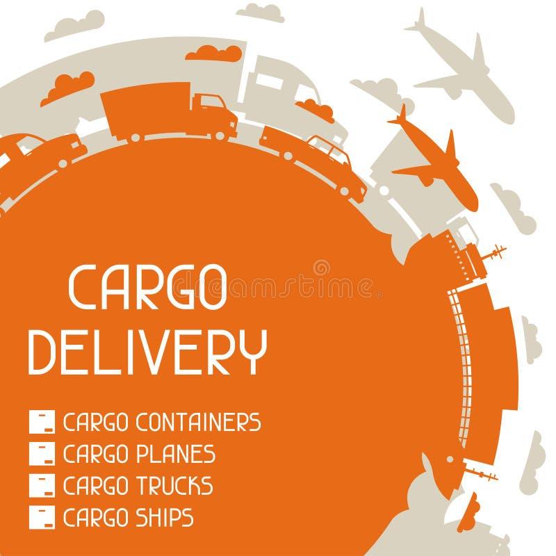 Fundo dos ícones do transporte de carga do frete no plano ilustração do vetor