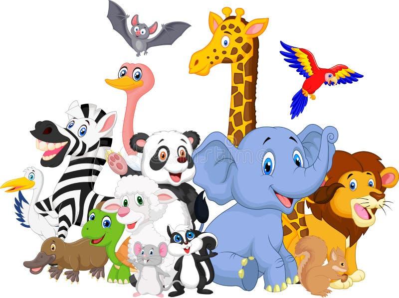 Fundo dos animais selvagens dos desenhos animados ilustração royalty free