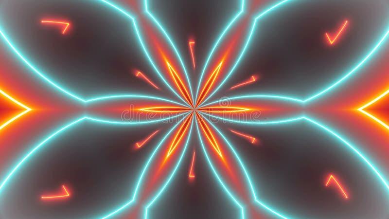 Fundo dos caleidoscópios do disco com linhas coloridas de néon de incandescência e formas geométricas ilustração stock