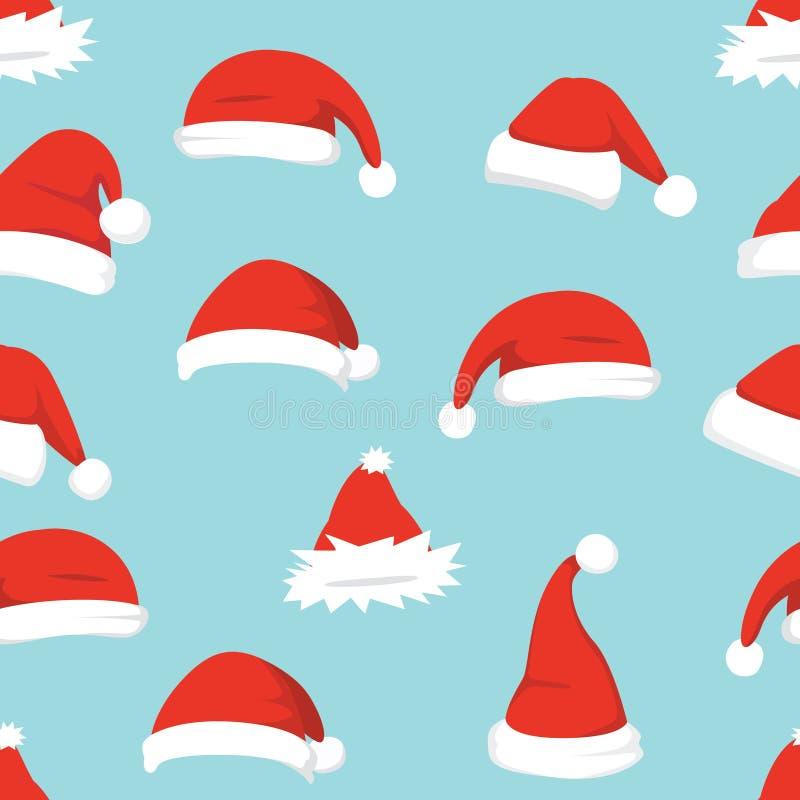 Fundo dos chapéus de Santa Vetor sem emenda do teste padrão do Natal Chapéu vermelho dos desenhos animados do ano novo ilustração do vetor