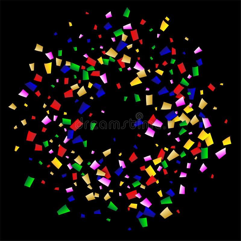 Fundo dos confetes da celebração Muitos confetes de queda para seu projeto Elementos da decoração do feriado ilustração festiva d ilustração stock