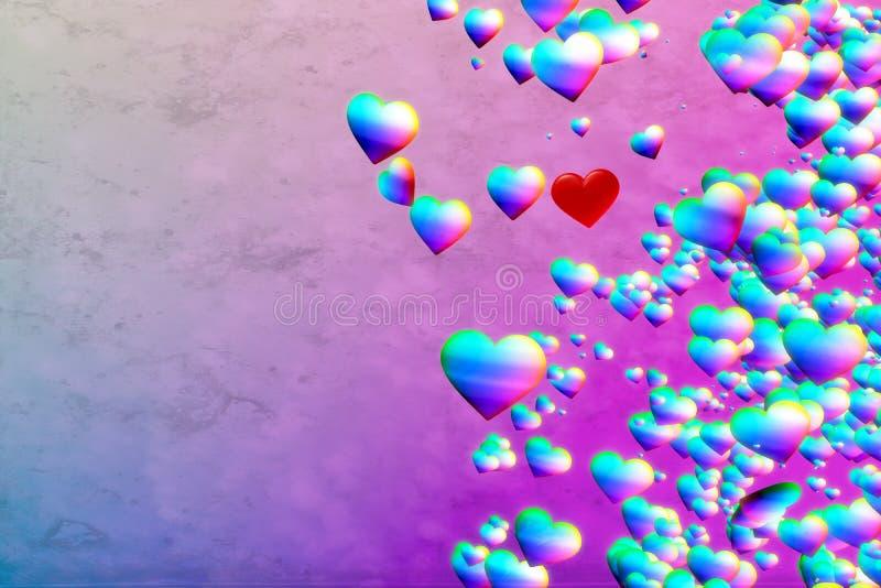 Fundo dos corações do arco-íris ilustração stock