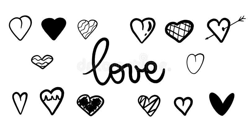 Fundo dos corações do preto do vetor Textura dos corações ilustração bonita Cartão romântico Coração Handdrawn para o convite do  ilustração stock