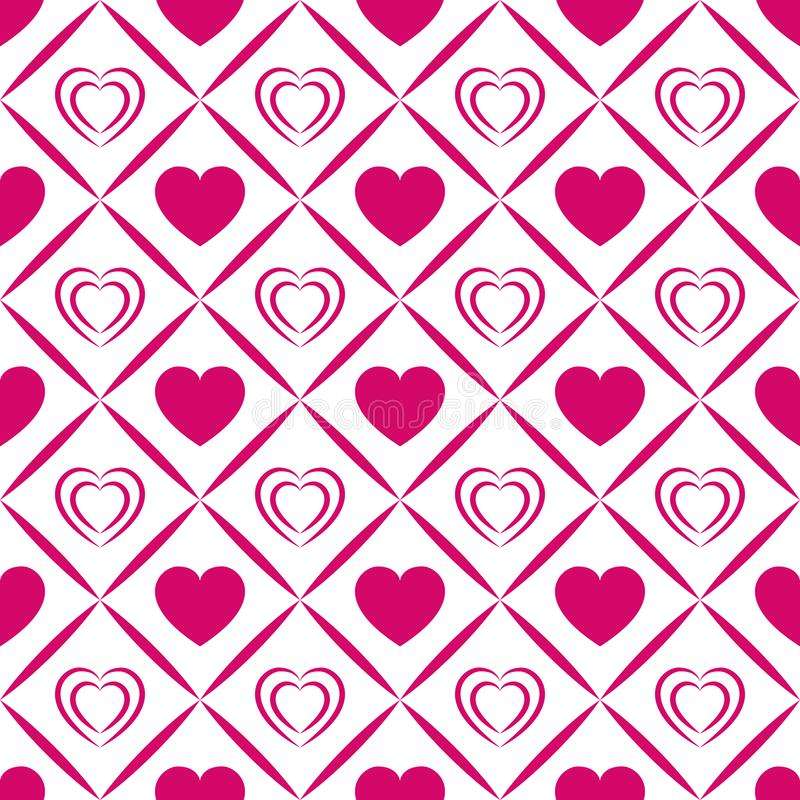 Fundo dos corações do vetor Teste padrão sem emenda do dia do ` s do Valentim Textura abstrata do molde Ícones cor-de-rosa brilha ilustração stock