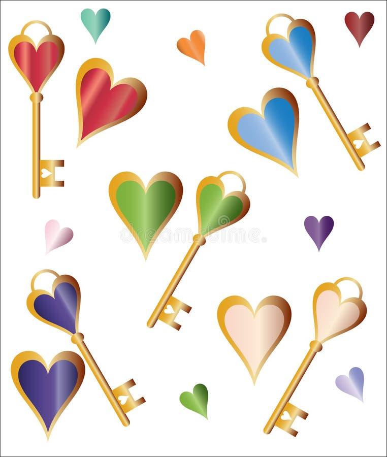Fundo dos corações e das chaves ilustração royalty free