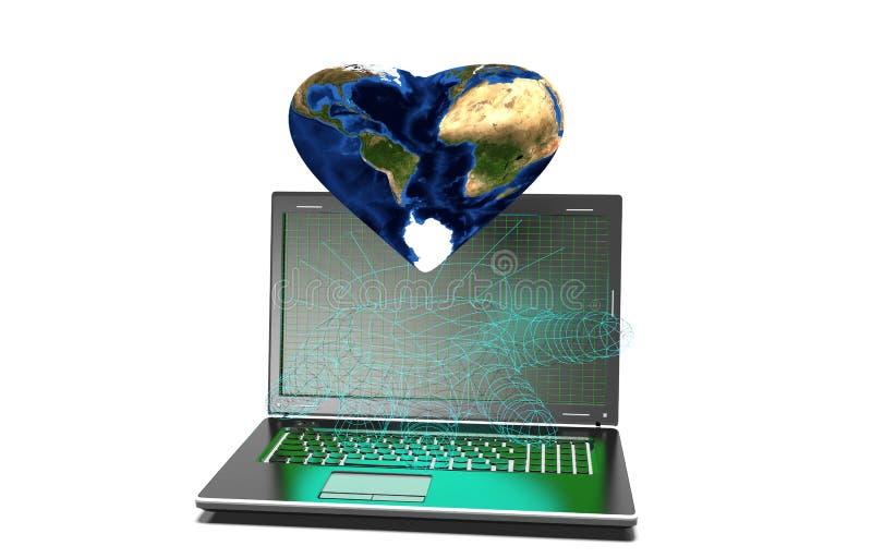 Fundo dos corações no portátil moderno isolado ilustração do vetor