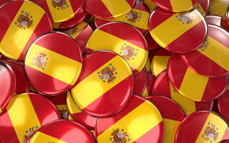 Fundo dos crachás da Espanha - pilha de botões espanhóis da bandeira ilustração do vetor