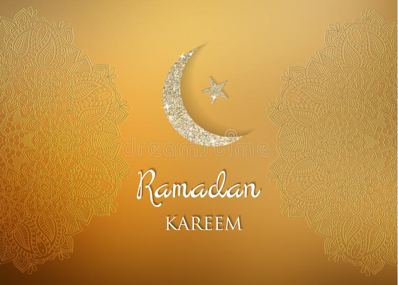 Fundo dos cumprimentos da ramadã Ramadan Kareem significa a ramadã o mês generoso ilustração royalty free