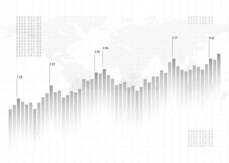 Fundo dos dados da carta do gráfico Conceito da finança, teste padrão cinzento do vetor Projeto conservado em estoque das estatís ilustração royalty free