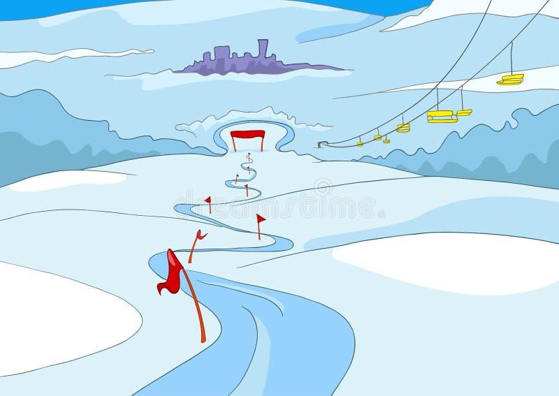 Fundo dos desenhos animados da estância de esqui ilustração do vetor