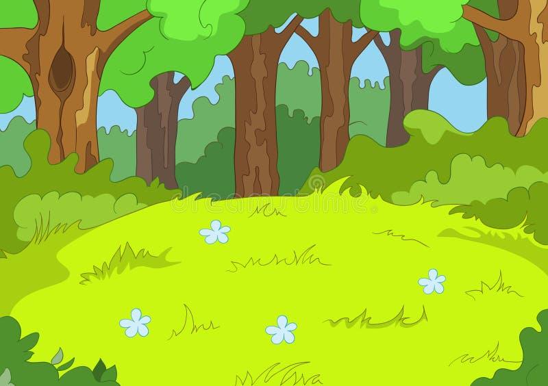 Fundo dos desenhos animados da paisagem da floresta ilustração royalty free