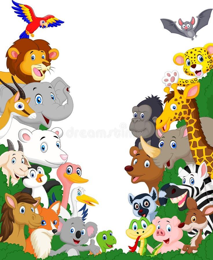 Fundo dos desenhos animados do animal selvagem ilustração royalty free