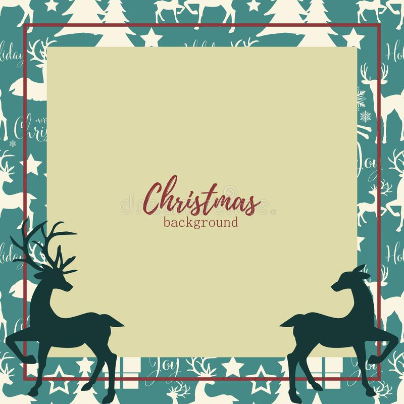 Fundo dos elementos do Natal com espaço dos cervos e da cópia ilustração do vetor