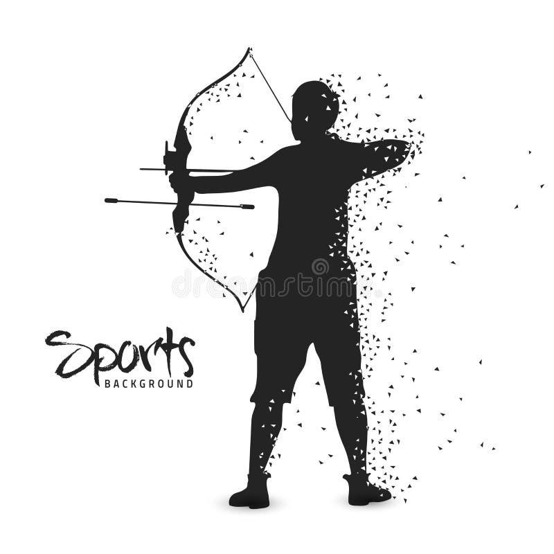 Fundo dos esportes com jogador do tiro ao arco ilustração stock