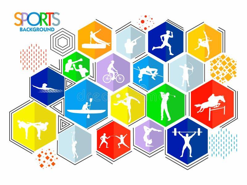 Fundo dos esportes com jogos diferentes ilustração stock
