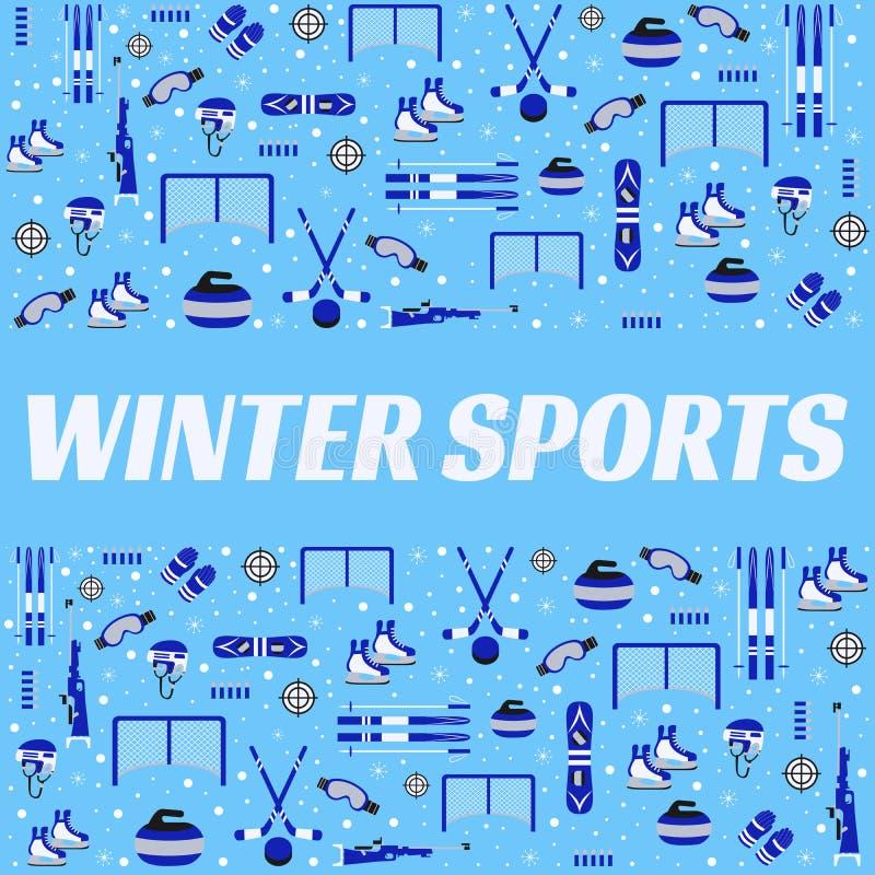 Fundo dos esportes de inverno Cartaz do vetor do equipamento ostentando Hóquei em gelo, patinando, esqui, snowboarding, biathlon ilustração do vetor