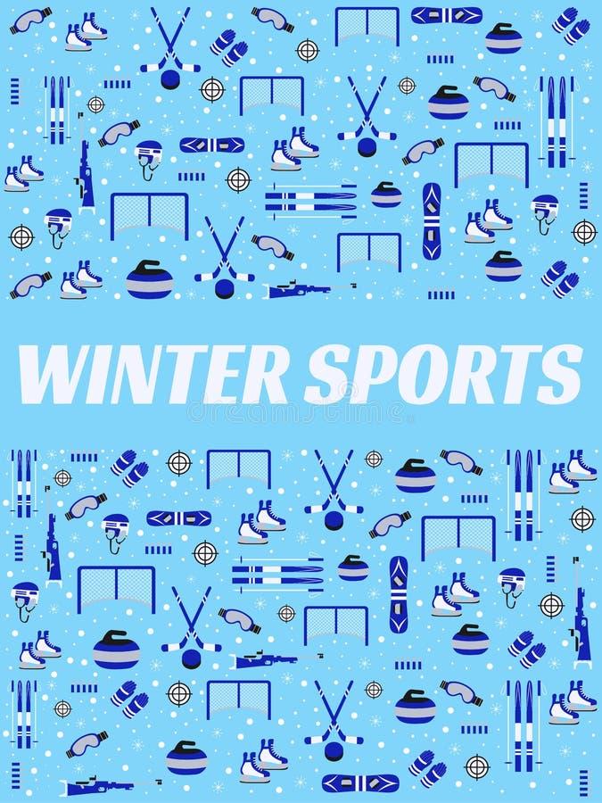 Fundo dos esportes de inverno Cartaz do vetor do equipamento ostentando Hóquei em gelo, patinando, esqui, snowboarding, propagand ilustração stock