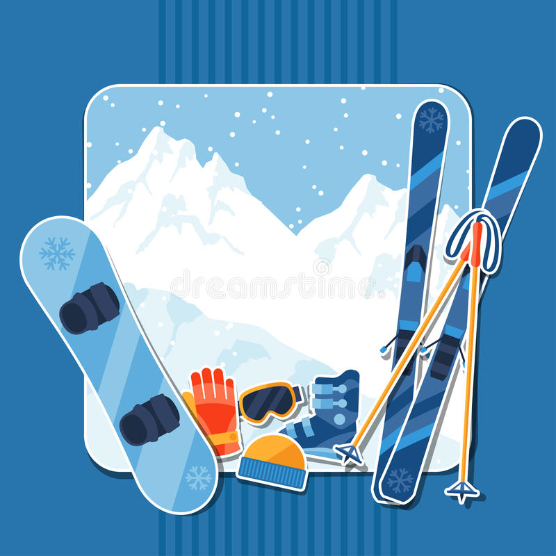 Fundo dos esportes de inverno com etiqueta do equipamento ilustração stock