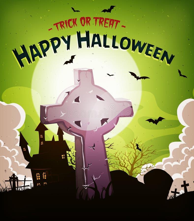 Fundo dos feriados de Dia das Bruxas com Christian Tombstone ilustração do vetor