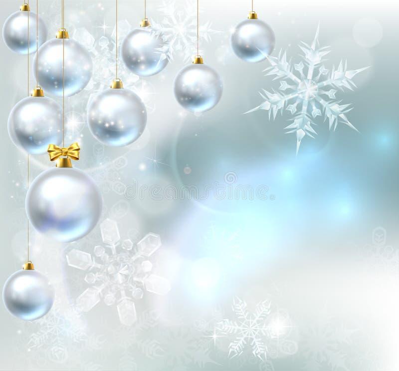 Fundo dos flocos de neve das quinquilharias do Natal ilustração royalty free