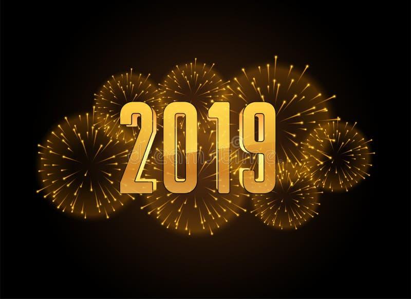 Fundo 2019 dos fogos de artifício da celebração do ano novo feliz ilustração do vetor