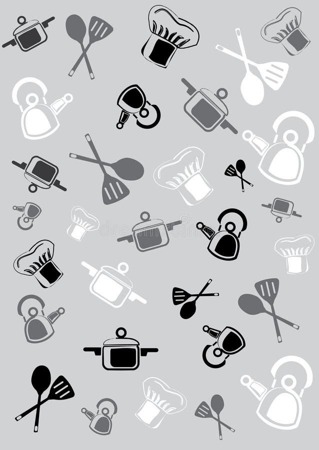Fundo dos mercadorias e dos acessórios para a cozinha ilustração do vetor