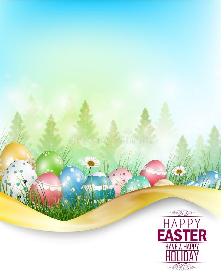 Fundo dos ovos da páscoa com espaço para o texto ilustração royalty free