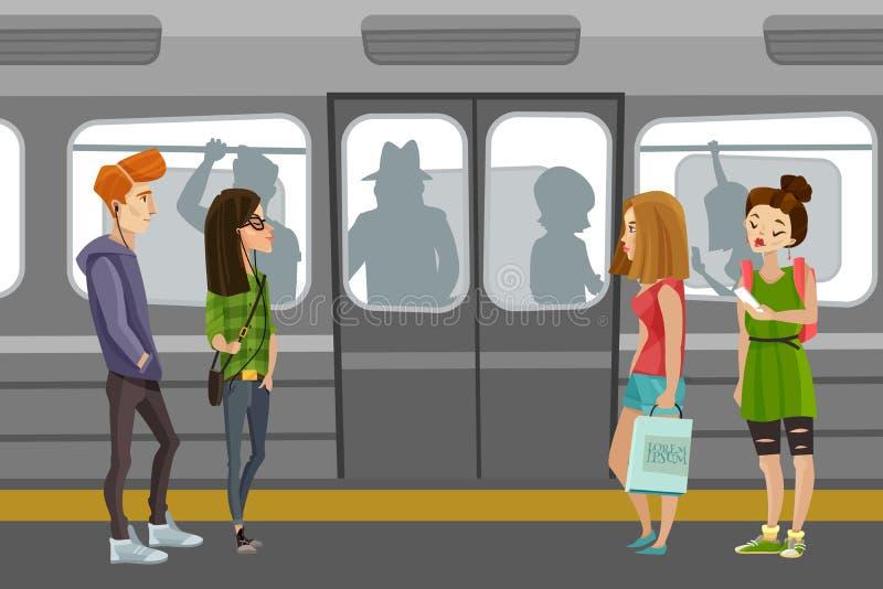 Fundo dos povos do metro ilustração do vetor