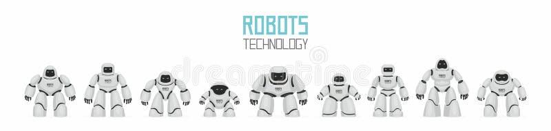Fundo dos robôs diferentes brancos ilustração stock