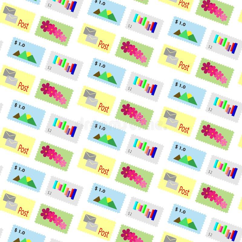 Fundo dos selos postais do vetor do teste padrão ilustração royalty free