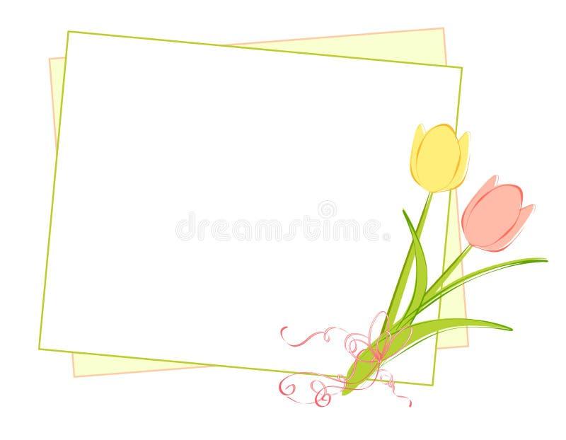 Fundo dos Tulips da mola e do papel de nota ilustração do vetor