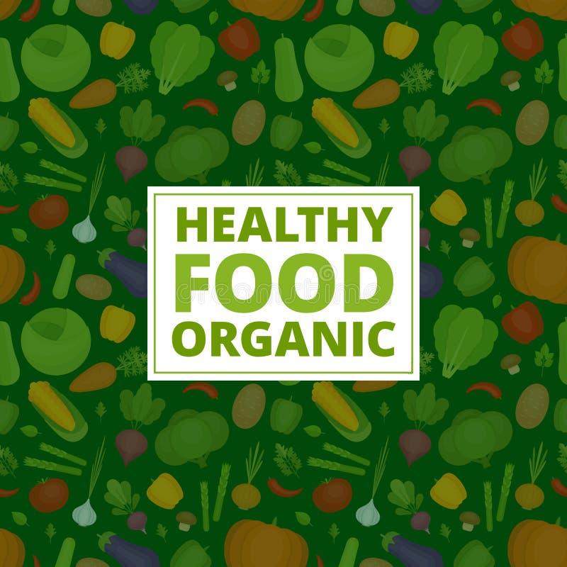 Fundo dos vegetais Teste padrão dos legumes frescos Orgânico e hea ilustração stock