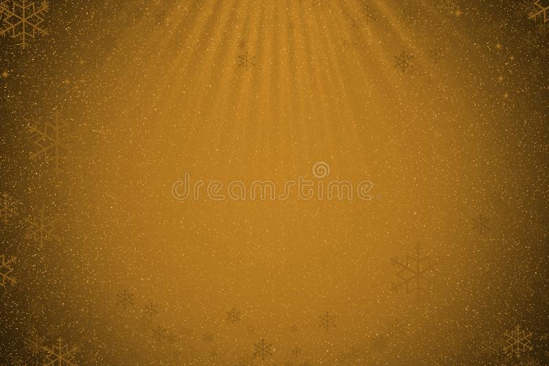 Fundo dourado abstrato do Natal com neve, flocos de neve e l ilustração royalty free