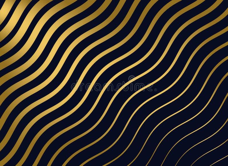 Fundo dourado abstrato do teste padrão ondulado ilustração royalty free
