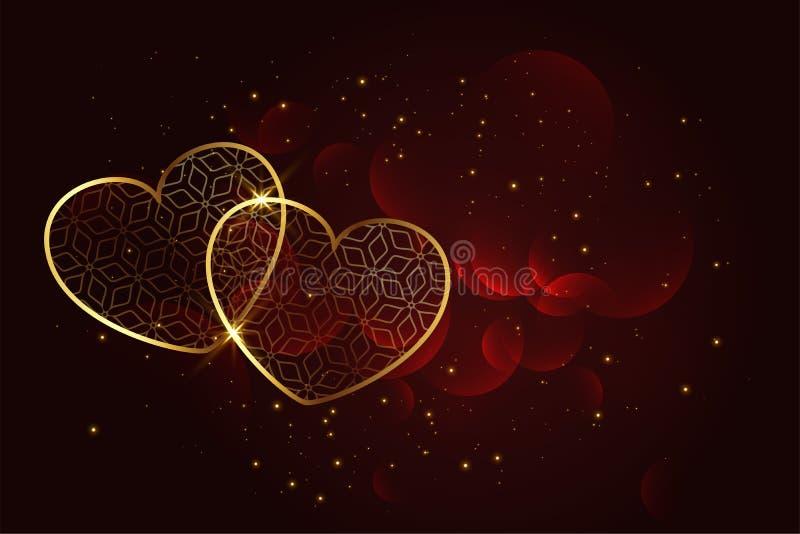 Fundo dourado artístico superior dos corações ilustração royalty free