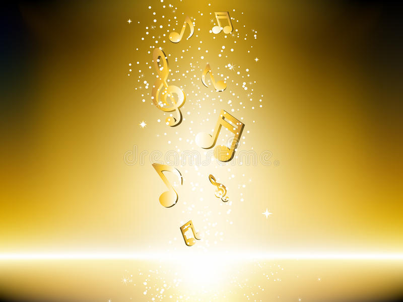 Fundo dourado com notas da música ilustração do vetor