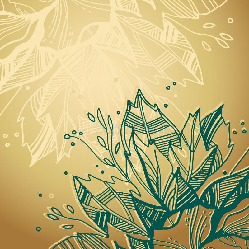 Fundo dourado com plantas ilustração royalty free