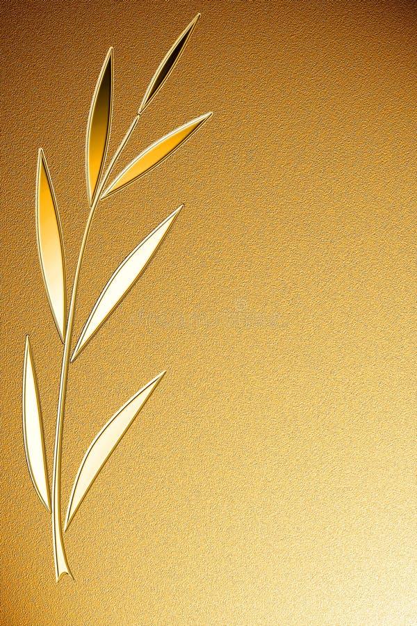 Fundo dourado com ramo brilhante da palma imagens de stock