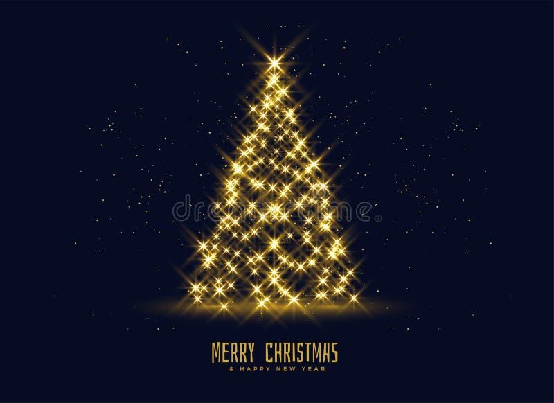Fundo dourado da árvore de Natal dos sparkles ilustração royalty free