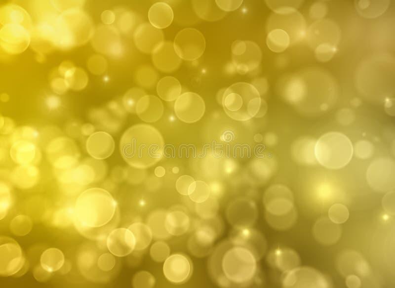 Fundo dourado da luz do sumário do bokeh. ilustração do vetor