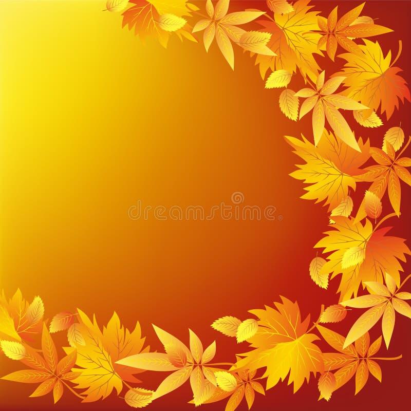 Fundo dourado da natureza abstrata com queda da folha ilustração royalty free