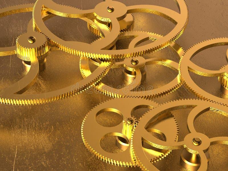 Fundo dourado das engrenagens ilustração stock