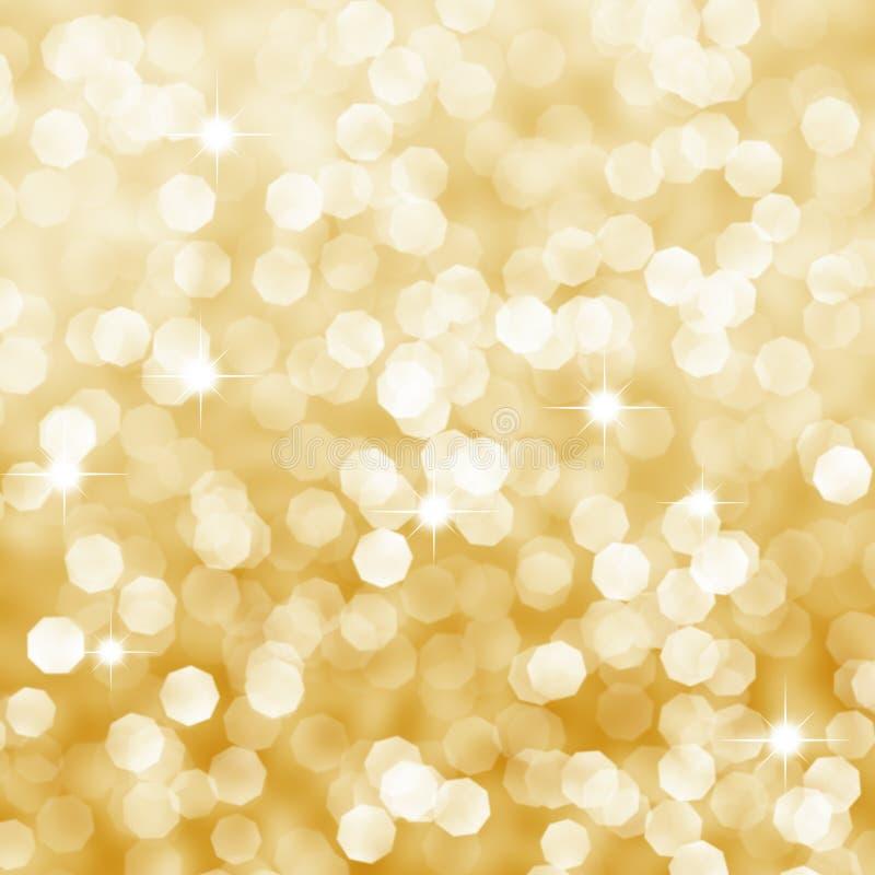 Fundo dourado do bokeh de Deficused com sparkles ilustração do vetor