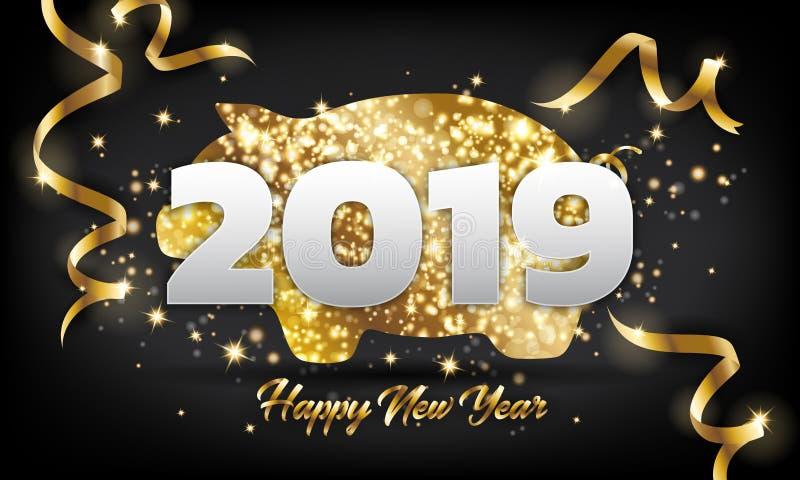 Fundo dourado do cartão do porco do ano novo feliz 2019 chineses ilustração stock