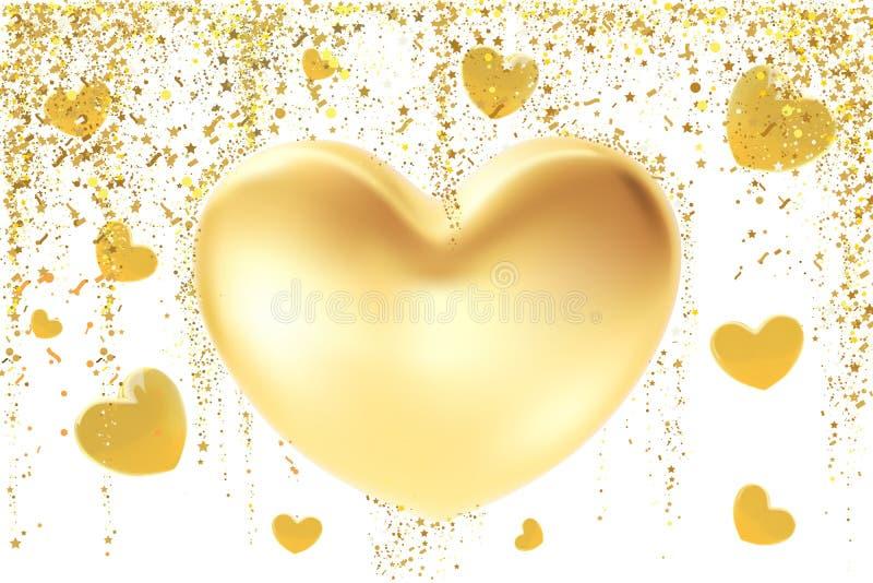 Fundo dourado do coração O símbolo do Valentim do St isolado no branco conceito de projeto realístico da ilustração 3d de um ouro ilustração royalty free