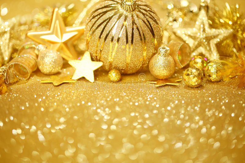 Fundo dourado do Natal fotos de stock royalty free