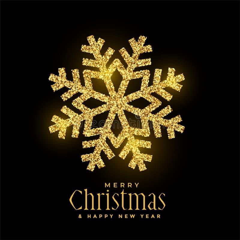 Fundo dourado do Natal dos flocos de neve do brilho ilustração royalty free